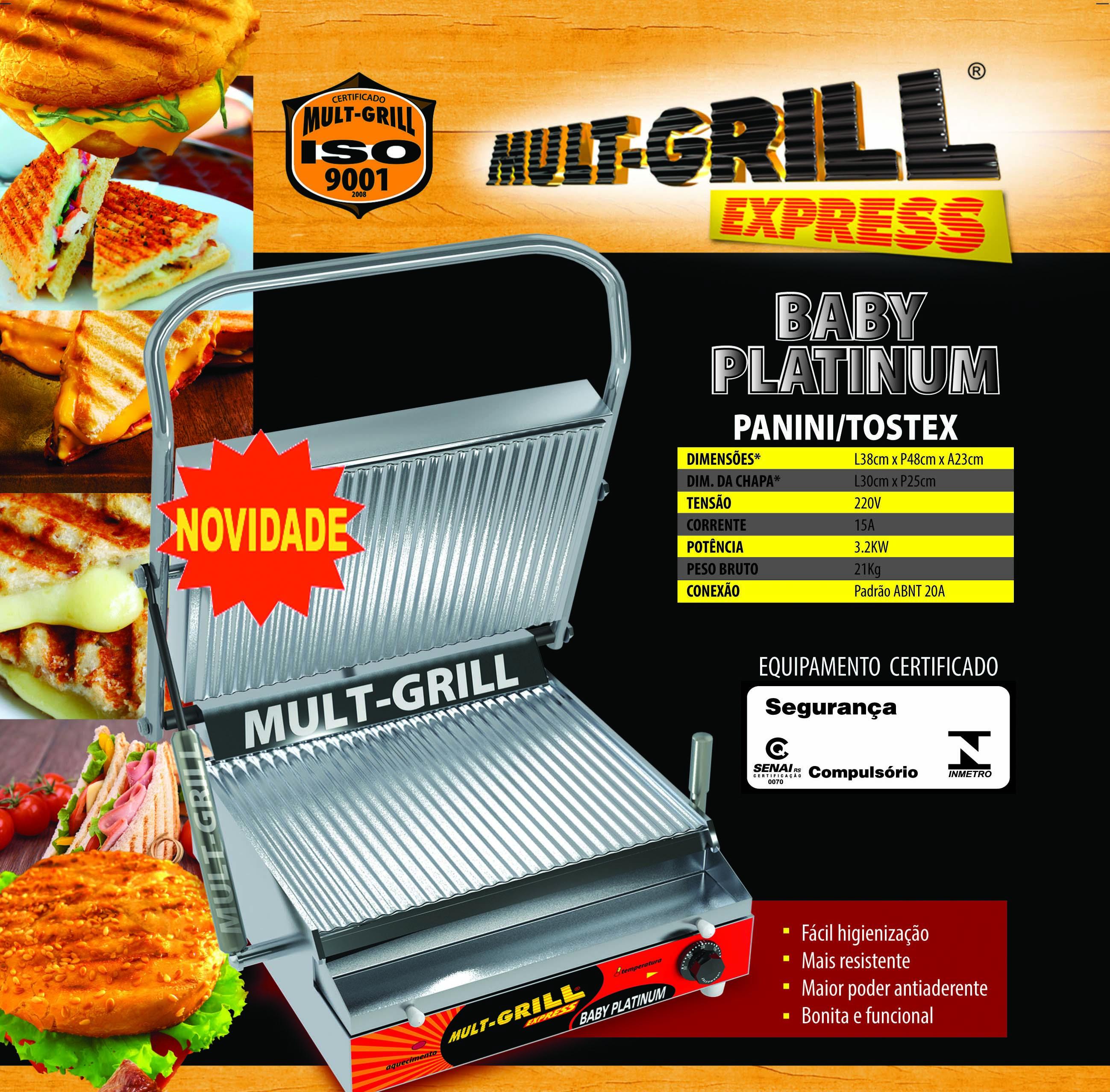 Lançamento Baby Platinum Panini-Tostex Mult-Grill