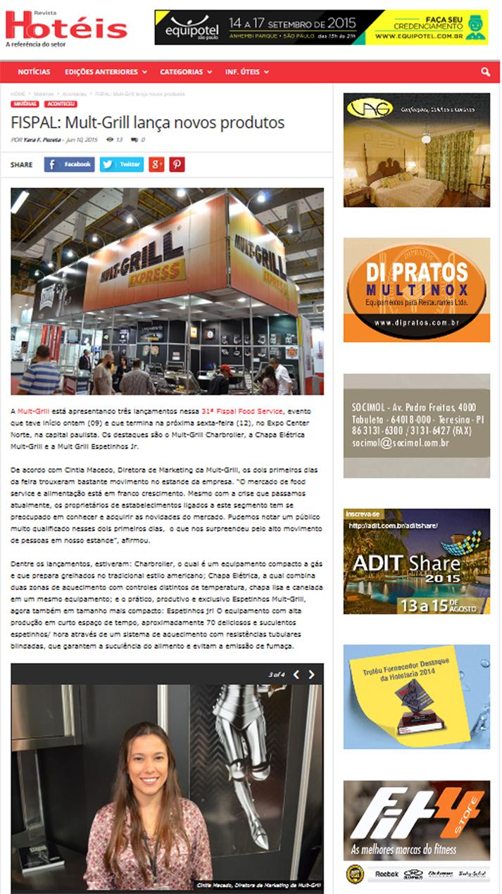 Cobertura Revista Hotéis Mult-Grill na Fispal Food Service 2015